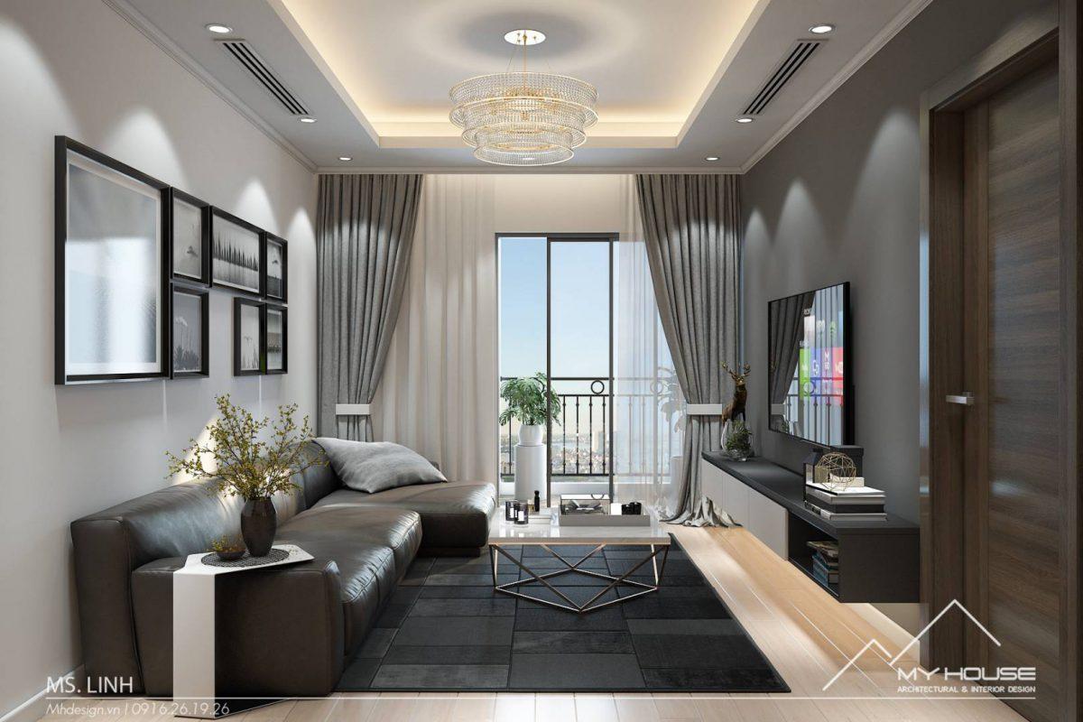 Thiết kế chung cư 65m2 theo phong cách hiện đại Ms Linh